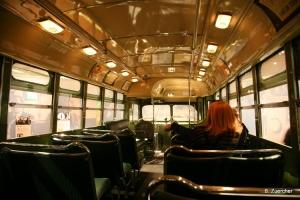Inside the Rosa Parks bus.
