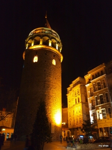 Galata Tower at night.