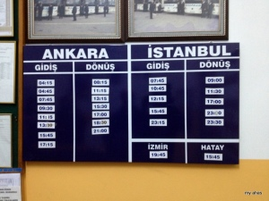 This give you an idea of how easy it is to travel around Turkey via buses. These are the times buses were coming/going to/from Safranbolu at just one bus company.