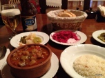 """The wonderful spread of food-the stew is one of their """"famous"""" dishes."""