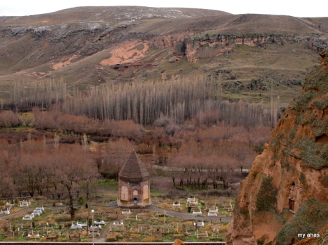 A cemetery across from Selime Monastery.