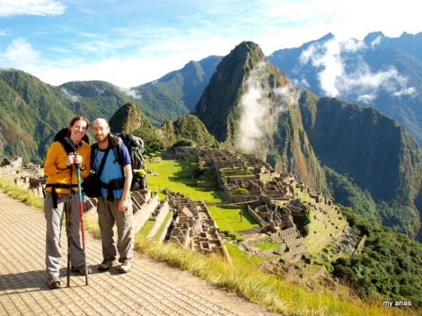 Arriving to Machu Picchu after completing the Inca Trail.