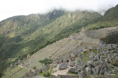 The rubble at the right are stones meant for further construction at the time of Machu Picchu's abandonment.