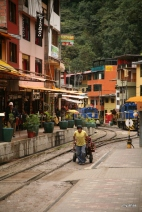 Goods are delivered by handcart around Aguas Calientes.