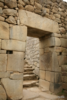 The Main Gate with its huge lintel. The Inca ruler, priests, and dignitaries would enter Machu Picchu here.