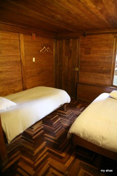 """Part of our room at the Rupa Wasi--it had a very """"eco"""" feel."""