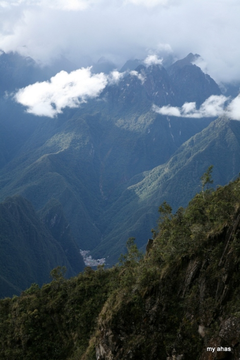 The town of Aguas Calientes below--a reminder that we were nearing our destination!