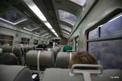 Inside the PeruRail train to Ollantaytambo.