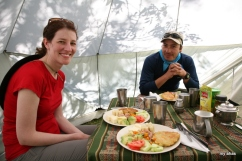 With our guide, Jhon, in the dining tent.