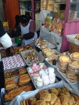 Baked goods being sold in the market near Plaza San Francisco.