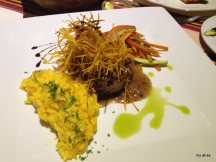 """My """"big"""" (beef) steak dinner at the Tambo Colonial Restaurant in our hotel."""