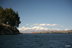 Peaks of the Cordillera Real mountain range, viewed from Lake Titicaca.