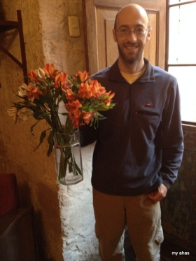 We celebrated our 2nd anniversary in Arequipa. Brian went out on his own early and brought these flowers back from a market.