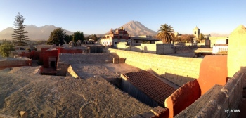 Panoramic view from rooftop with El Misti in background.