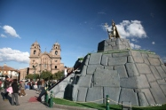 The usual fountain was temporarily transformed into an Incan monument for the festivities during the entirety of our visit.
