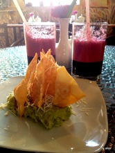 The best guacamole we've ever had with chicha morada from Encantasa'a Cafe.