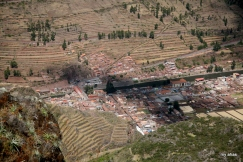 Looking down on the town of Pisac from the ruins