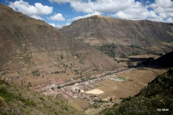 Looking down on the town of Pisac and the Urubamba River