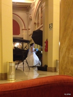 Spying a bride-to-be having her photos taken in the lobby of our hotel.